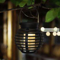 LED szolár lámpa, gyertyafény, felakasztható, melegfehér - 10 x 11 cm