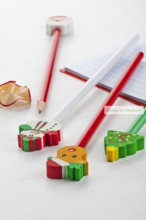 Ceruza levehető radírral karácsonyi figurás