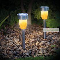 LED-es szolár lámpa, lángeffekt, műa. 260 x 55 mm