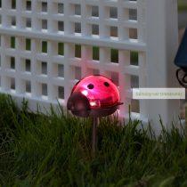 LED szolár lámpa, katica , sárga / piros - 75 x 60 x 156 mm