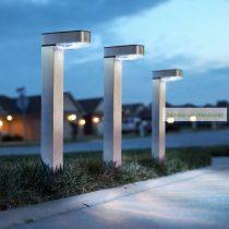 LED-es szolár lámpa, szálcsiszolt, fém, hidegfehér