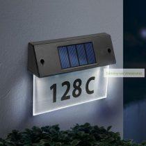 Szolár házszámfény, átlátszó plexi, hidegfehér LED, 18 x 20 cm