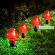 LED szolár gombalámpa, piros  11 cm