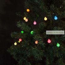 Fényfüzér, 50 db színes LED, gömb - hálózati, 3 m