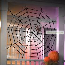 Plüss pókháló, halloween-i dekoráció, 200 cm, fekete
