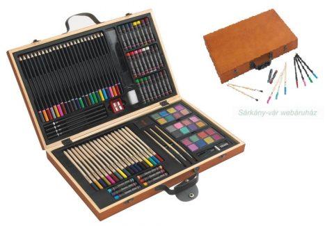 88 részes rajz-, és festő készlet fa dobozban