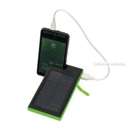 Helios napelemes powerbank, fekete, zöld